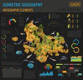 Flat 3D Isometric Africa Flora And Fauna Map Constructor Elements. Animals, Birds And Sea Life Isola poster