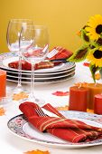Fall Theme Dinner Table Setting