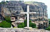 Monastery Ypapanti And Cross, Meteora, Greece