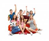 Friends watching TV on bean bag cushion, isolated on white poster