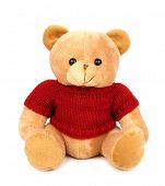 Teddy with red sweater isolated on white background