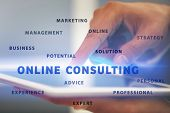 Man working with tablet on blurred background. Consulting service concept poster