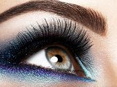 womans eye with blue eye makeup poster