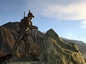 Issogne Italy  Mountain Climber Bronze Statue