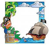 Frame with sea and pirate theme 2 - vector illustration.