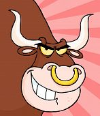 foto of nose ring  - Grinning Bull With A Nose Ring Over Rays - JPG