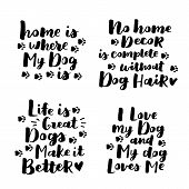 Set Of Dog Adoption Hand Written Lettering. Brush Lettering Quotes About The Dog. Vector Motivationa poster