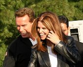 PLEASANTON, CA - OCT 4: Arnold Schwarzenegger, Maria Shriver at the CA Comeback Express Bus Tour in