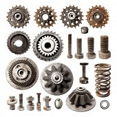 Collection Old metallic object. Gear metal wheels isolated on white background.  poster