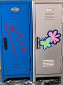 stock photo of snitch  - School Violence 1 is a picture of two school lockers one with the word Snitch painted on it as a warning to the student - JPG