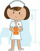 image of nurse uniform  - A young female nurse holding a clipboard - JPG