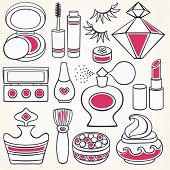 Vector make up, beauty and fashion supplies icons
