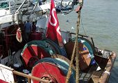 LONDON- JUNE 3: Bafta winning tv series, Trawlermen. Sail there famous north sea trawler AMITY I I,