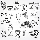 stock photo of ear candle  - Set of Illustration of a communion depicting traditional Christian symbols including candle  - JPG