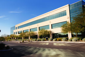 image of commercial building  - Large modern commercial building with beautiful blue sky - JPG