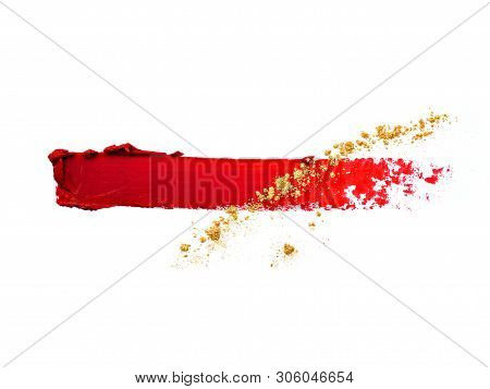 poster of Vibrant Wine Red Lipstick Smear With Spilled Golden Eyeshadow Isolated On White Backdrop. Compositio