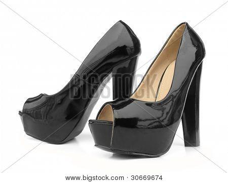 Постер, плакат: Черный высоких каблуках Открытый мыс обувь насоса, холст на подрамнике