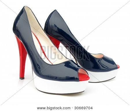 Постер, плакат: Синий белый красный высокие каблуки открытых ног насос обувь, холст на подрамнике