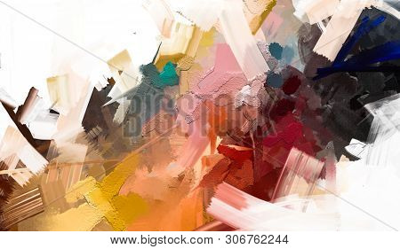poster of Abstract Colorful Oil Painting On Canvas Texture. Hand Drawn Brush Stroke, Oil Color Paintings Backg