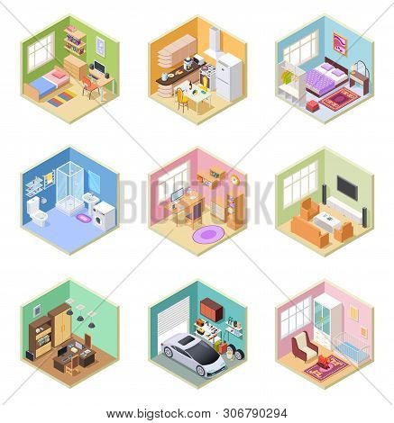 poster of Isometric Rooms. Designed House, Living Room Kitchen Bathroom Bedroom Toilet Apartment Interior With