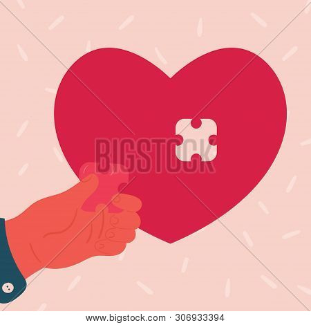 poster of Heart Shaped Puzzle. Man Hand Inserts Small Puzzle Piece. Concept Of Broken And Restored Love. Flat