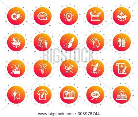 poster of Creativity Brush Icons. Set Of Design, Idea And Inspiration Linear Icons. Imagination, Idea Box And