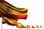 Cute Any Occasion Flag 3d Illustration  - Spain Isolated Flags Placed Diagonal, Image With Soft Focu poster