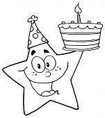 Outlined Star Holding Up A Birthday Cake