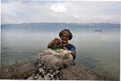 SUMATERA - FEBRUARY 10: A fisherman displays his catch from Lake Singkarak, a tectonic lake in Sumat