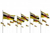 Beautiful Brunei Darussalam Isolated Flags Placed In Row With Bokeh And Place For Your Text - Any Fe poster