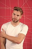 Man Bearded Guy Modern Hairstyle In Pensive Mood Pink Background. Simple Hacks To Make Hairstyle Bet poster