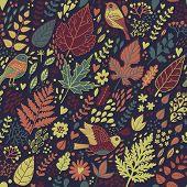 Stylish seamless vintage floral pattern