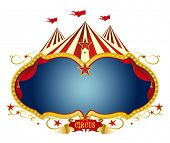 Sign circus. A circus frame with a big top and a large blue copy space for your message.