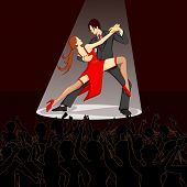 illustration of dancer performing salsa on stage with cheering crowd