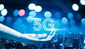 5g Network Digital Hologram And Internet Of Things On City Background.5g Network Wireless Systems.ro poster