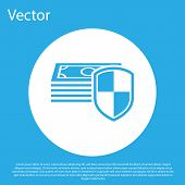 Money Protection Icon On Blue Background. Financial Security, Bank Account Protection, Fraud Prevent poster