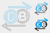 Mesh Euro Bitcoin Change Model With Triangle Mosaic Icon. Wire Carcass Triangular Mesh Of Euro Bitco poster