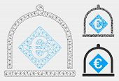 Mesh Euro Deposit Model With Triangle Mosaic Icon. Wire Frame Polygonal Mesh Of Euro Deposit. Vector poster