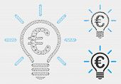 Mesh Euro Idea Bulb Model With Triangle Mosaic Icon. Wire Carcass Polygonal Network Of Euro Idea Bul poster