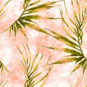 Tropical Seamless Pattern. Watercolor Curved Palm Leaves, Japanese Bamboo. Green Exotic Swimwear Des poster