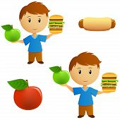 Set Of Young Men With Apple And Hamburger Choice