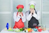 Healthy Food Concept. Couple Cooking Healthy Vegetarian Meal. Vegetarian Family. Vegetarian Nutritio poster