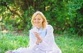 Woman Enjoy Relax Nature Background. Lady Enjoy Tender Flower Fragrance. Femininity And Tenderness.  poster