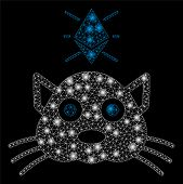 Bright Mesh Ethereum Crypto Kitty With Glow Effect. Abstract Illuminated Model Of Ethereum Crypto Ki poster