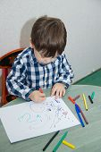 The Boy Draws Felt-tip Pens On Paper. Drawing. Little Boy. Childrens Drawing. Developmental Activiti poster