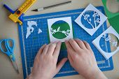 Making Tunnelbook. 3D Greeting Card Spring. Artwork Equipment And Tools For Paper Cut - Cutting Knif poster