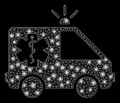 Bright Mesh Emergency Car With Glow Effect. Abstract Illuminated Model Of Emergency Car Icon. Shiny  poster