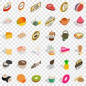Thin Icons Set. Isometric Style Of 36 Thin Vector Icons For Web For Any Design poster