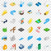 Surfing Icons Set. Isometric Style Of 36 Surfing Vector Icons For Web For Any Design poster