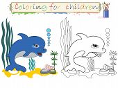 Coloring for children ,cute dolphin.